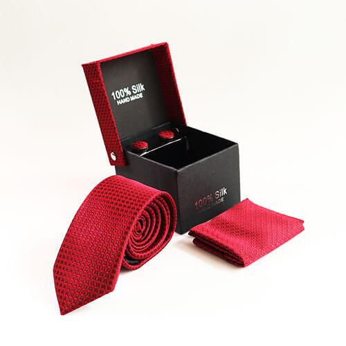 Cà vạt dệt gân đỏ