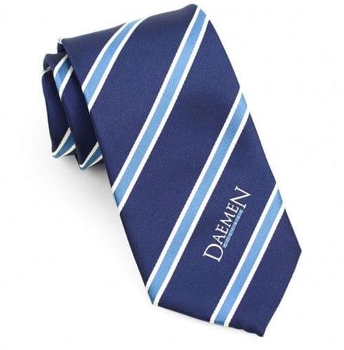 Cà vạt kẻ sọc xanh logo trắng