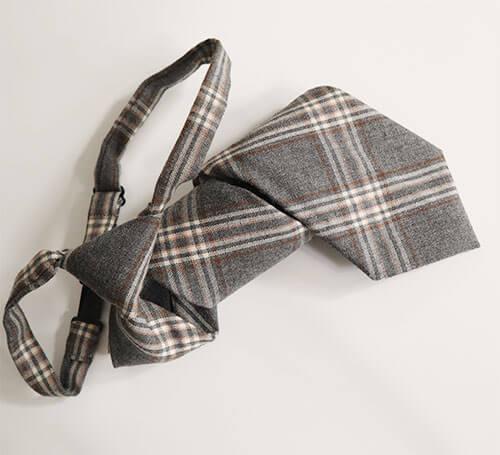 Cà vạt thắt sẵn màu xám họa tiết