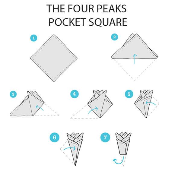 Cách gấp khăn cài túi vest bốn đỉnh