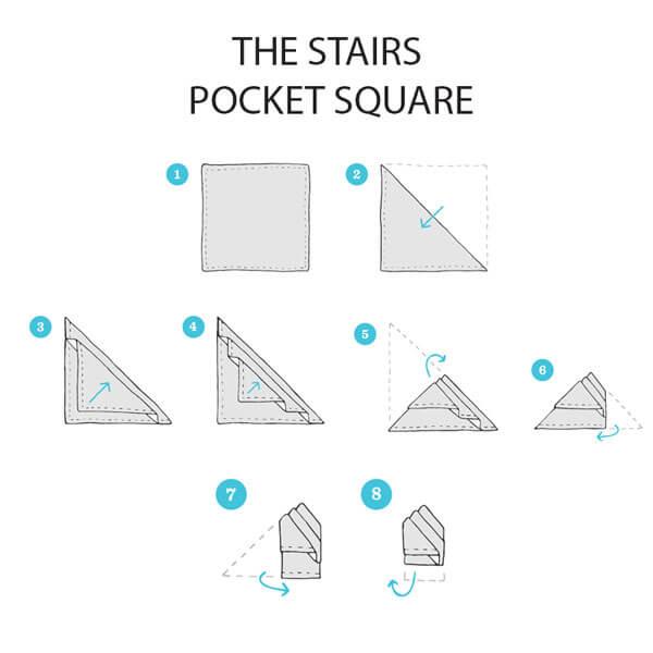 Cách gấp khăn cài túi áo vest bậc thang