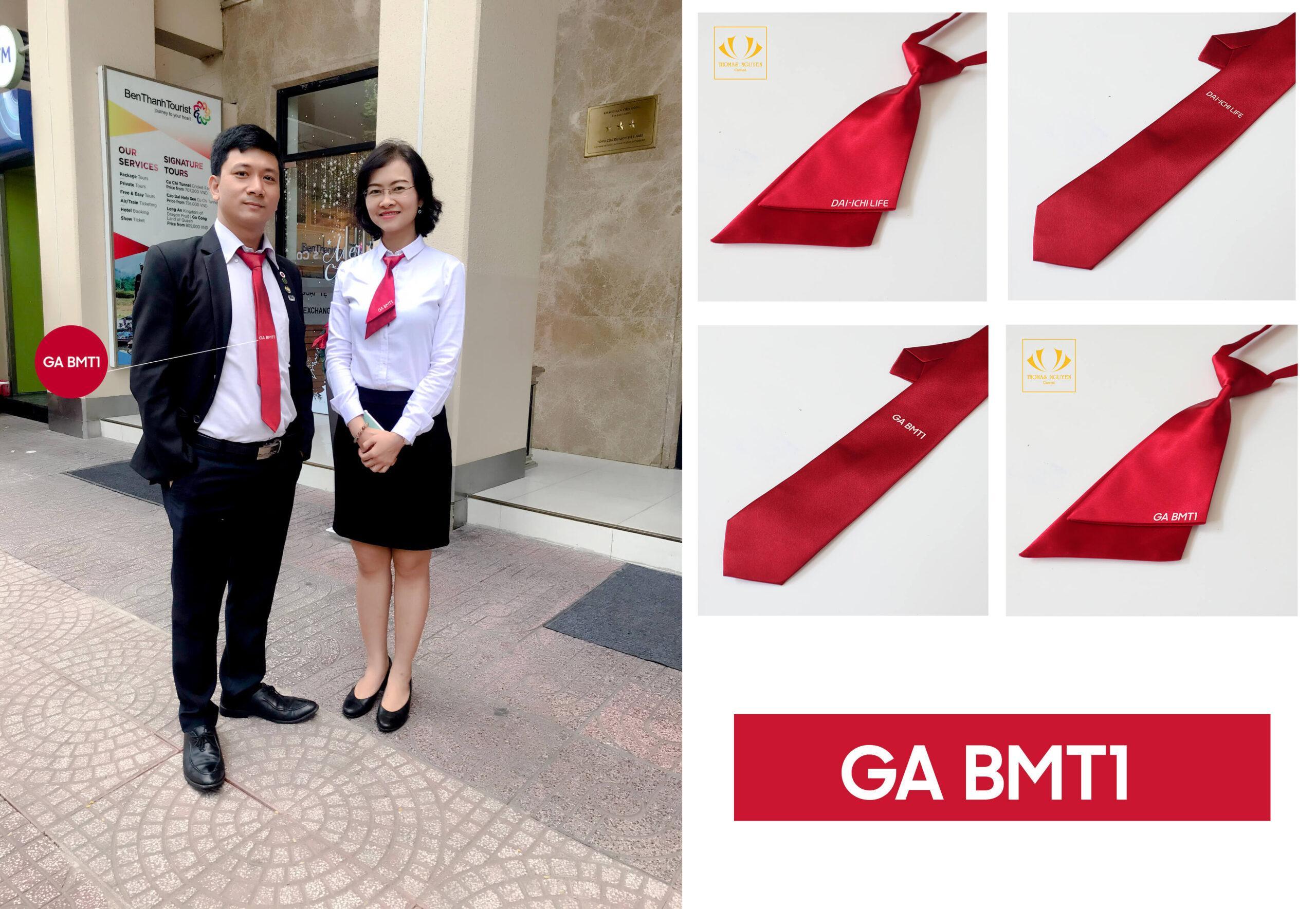 Cà vạt và nơ nữ thắt sẵn thêu logo công ty Thomas Nguyen