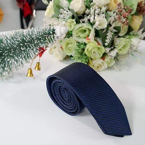 Cà vạt xanh đen dệt gân cao cấp