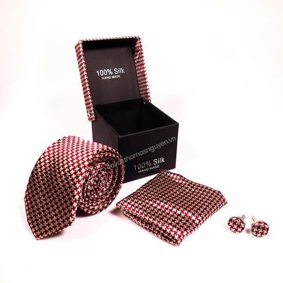 set cà vạt nam màu đỏ cao cấp