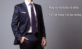 Kẹp cà vạt kiểu cổ điển + Cà vạt bằng vải lụa mỏng