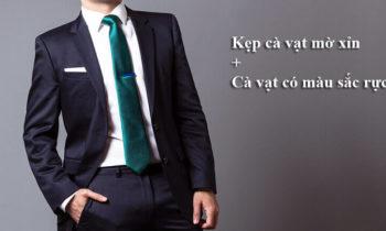 Kẹp cà vạt mờ xỉn + Cà vạt có màu sắc rực rỡ