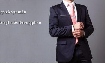 Kẹp cà vạt màu + Cà vạt màu tương phản