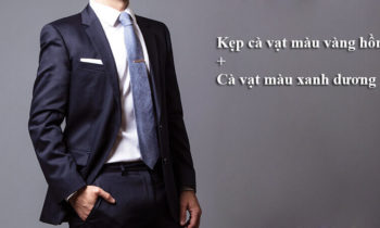 Kẹp cà vạt màu vàng hồng + Cà vạt màu xanh dương