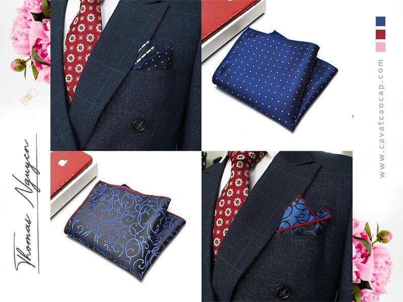 Khăn cài túi áo vest phối cùng cà vạt bản nhỏ Thomas Nguyen