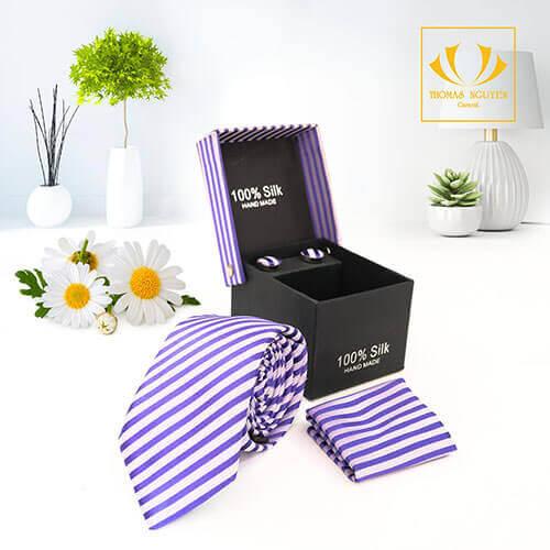 Bộ cà vạt sọc màu tím