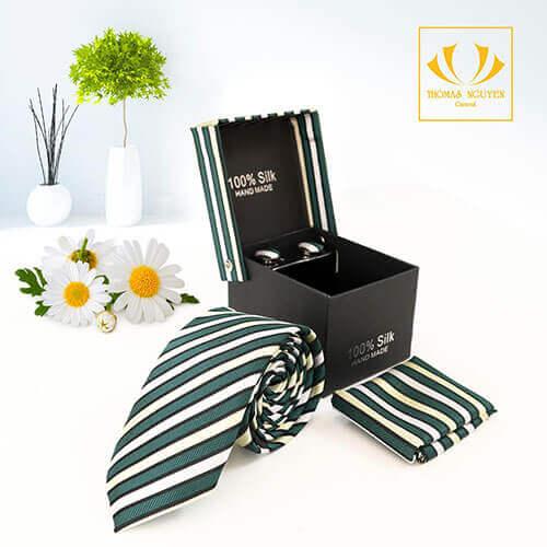 Bộ cà vạt sọc màu xanh lá