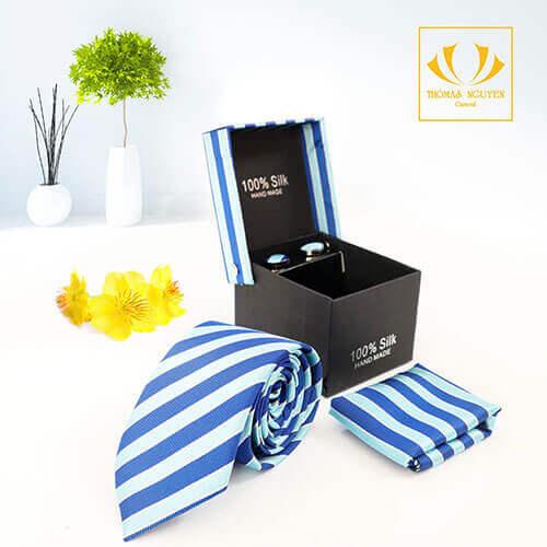 Bộ cà vạt sọc màu xanh dương