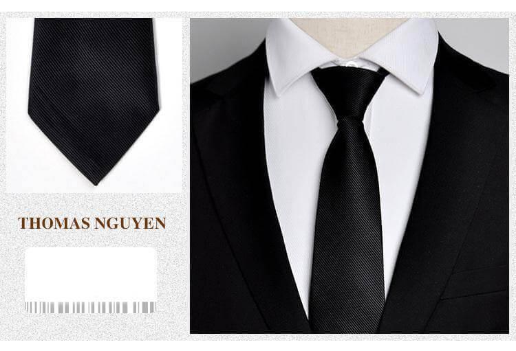 Cà vạt thắt sẵn họa tiết màu đen Thomas Nguyen