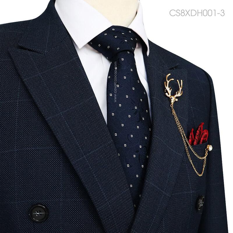 Cà vạt lụa tơ tằm cao cấp màu xanh