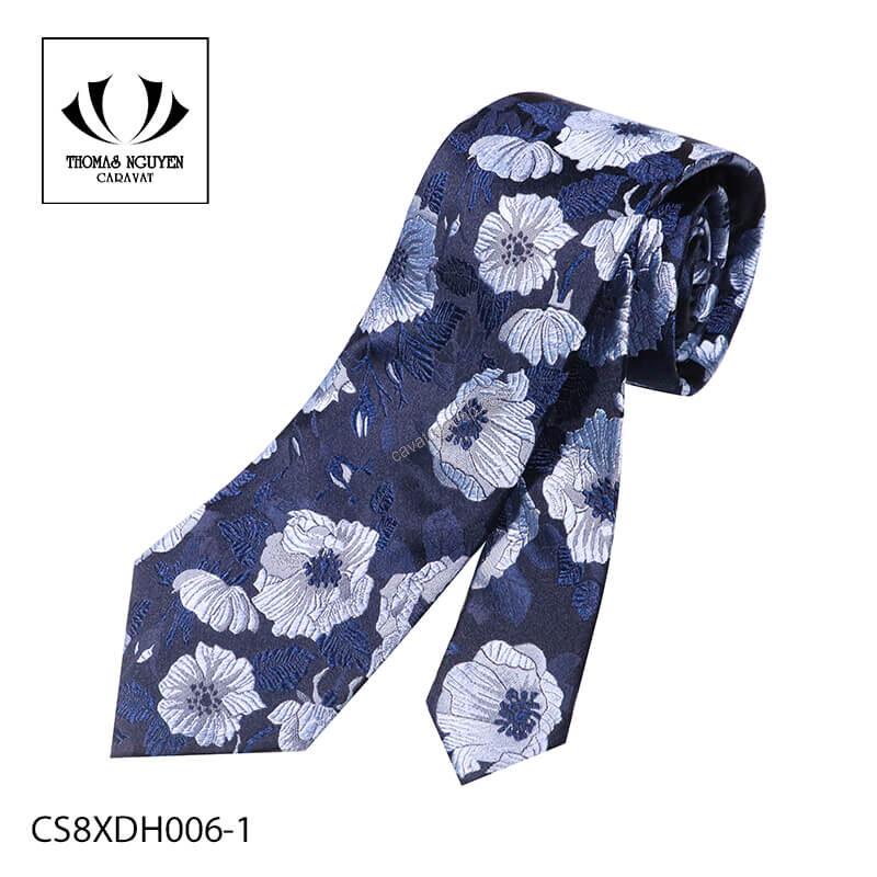 Cà vạt lụa họa tiết màu xanh