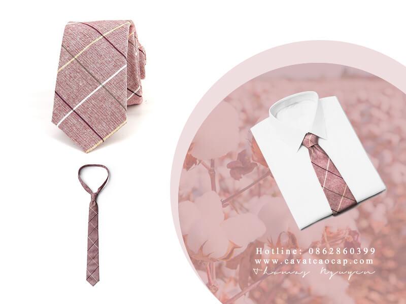 Cà vạt cotton màu hồng đặc biệt