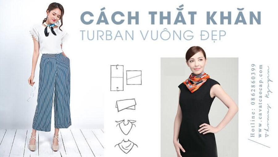 Cách thắt khăn turban vuông với trang phục công sở và dạo phố đẹp