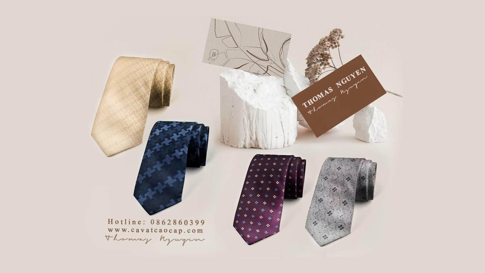 Cà vạt lụa tơ tằm họa tiết thiết kế riêng biệt