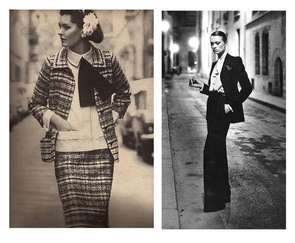 Bên trái là bộ váy bằng vải tweed của Chanel và bên phải là hình ảnh mô phỏng một người phụ nữ trong bộ đồ Le Smoking của YSL
